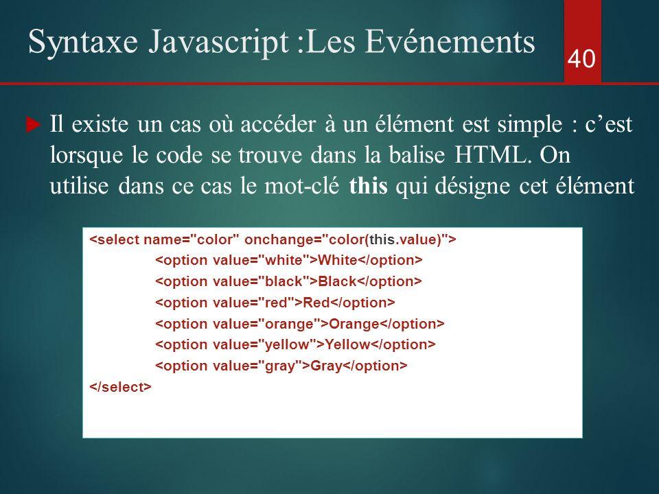 Il existe un cas où accéder à un élément est simple : cest lorsque le code se trouve dans la balise HTML. On utilise dans ce cas le mot-clé this qui d