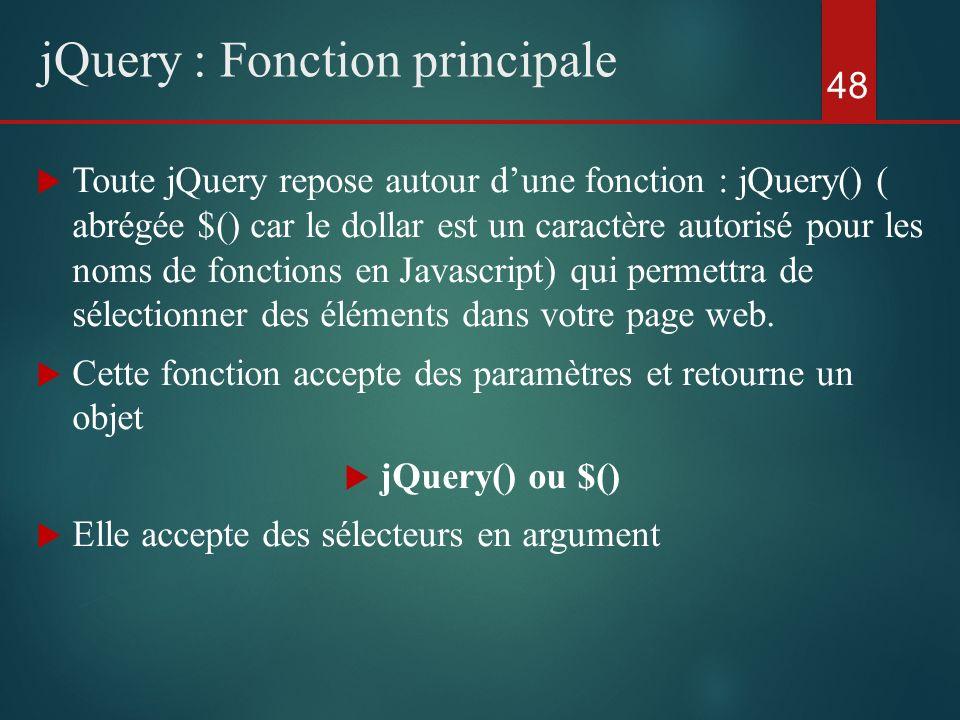 Toute jQuery repose autour dune fonction : jQuery() ( abrégée $() car le dollar est un caractère autorisé pour les noms de fonctions en Javascript) qu