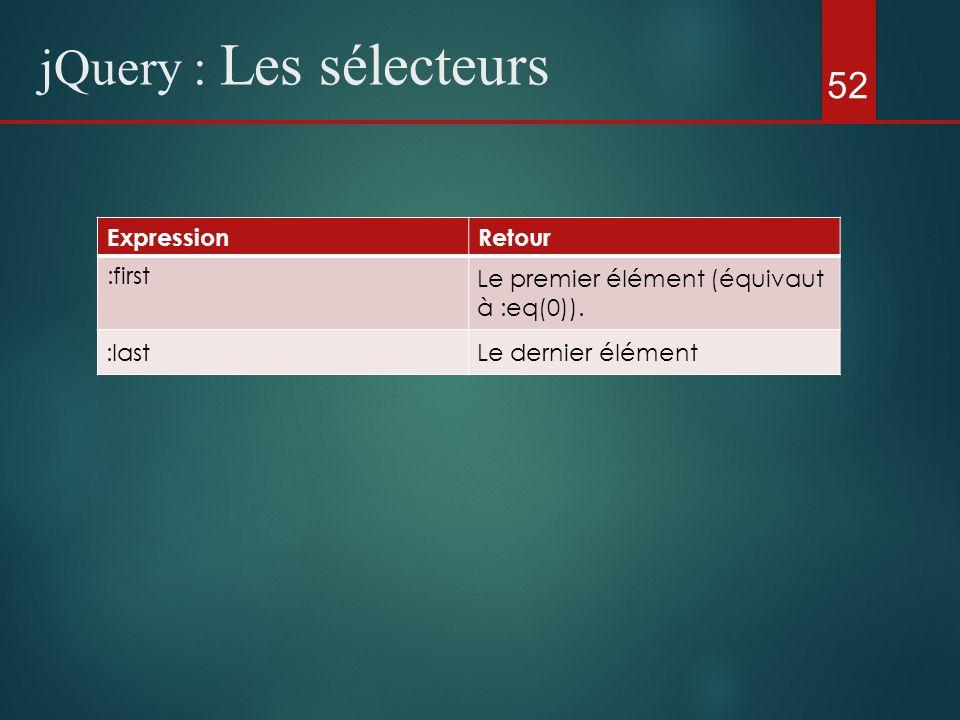52 jQuery : Les sélecteurs ExpressionRetour :first Le premier élément (équivaut à :eq(0)). :lastLe dernier élément