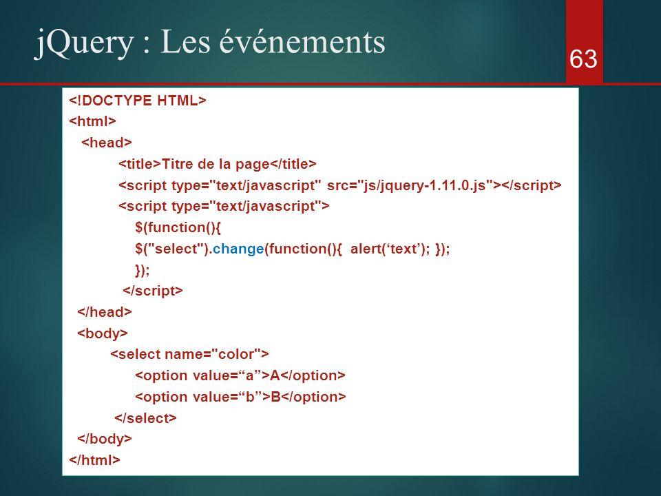 63 jQuery : Les événements Titre de la page $(function(){ $(
