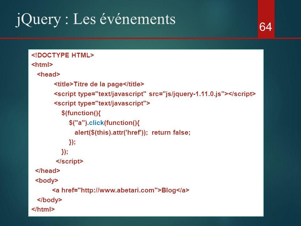 64 jQuery : Les événements Titre de la page $(function(){ $(