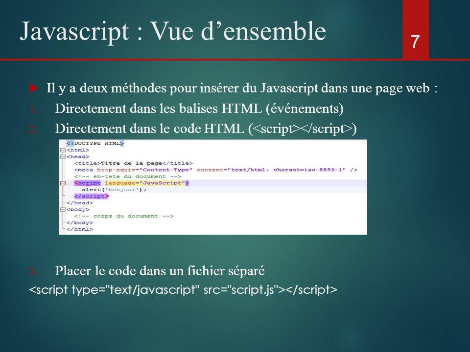 Il y a deux méthodes pour insérer du Javascript dans une page web : 1. Directement dans les balises HTML (événements) 2. Directement dans le code HTML