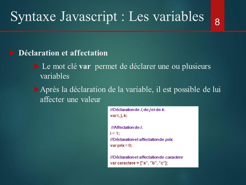 Déclaration et affectation Le mot clé var permet de déclarer une ou plusieurs variables Après la déclaration de la variable, il est possible de lui af