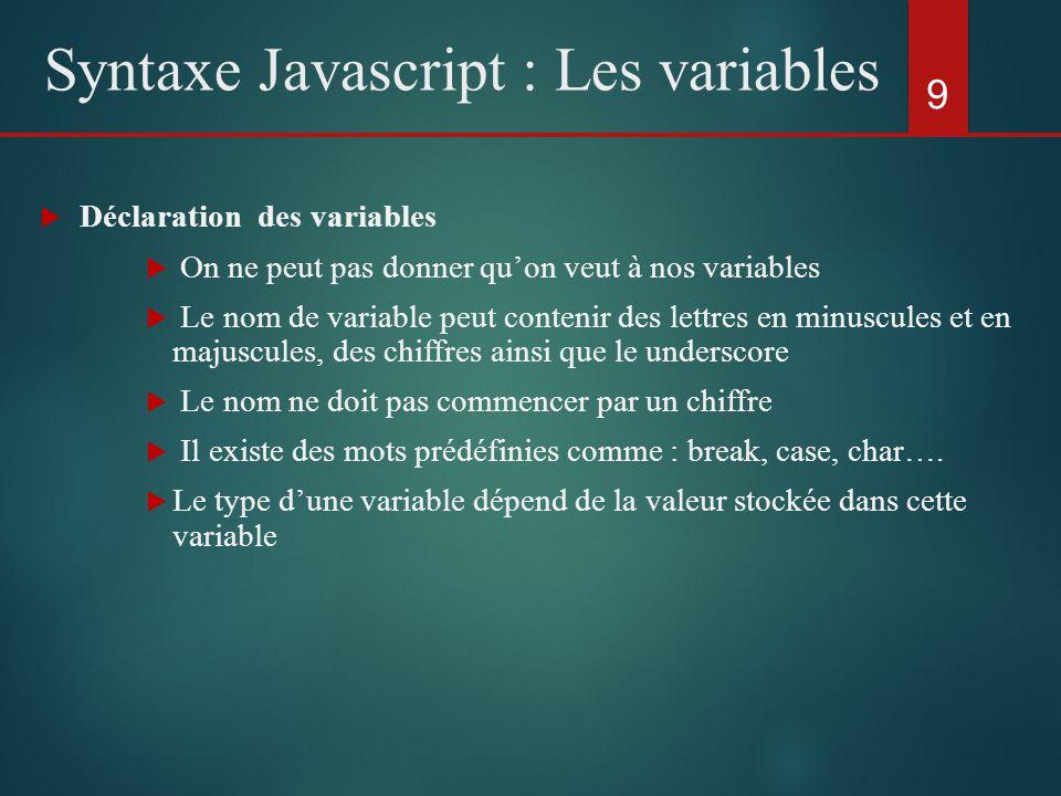 Déclaration des variables On ne peut pas donner quon veut à nos variables Le nom de variable peut contenir des lettres en minuscules et en majuscules,