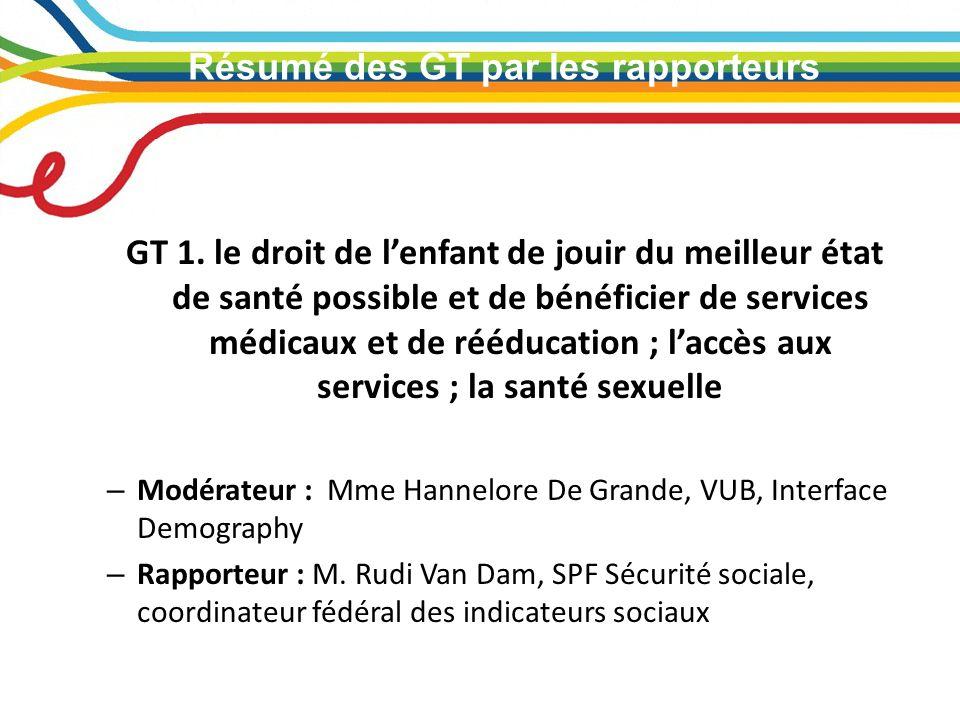Résumé des GT par les rapporteurs GT 1.