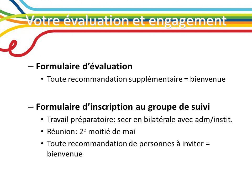 Votre évaluation et engagement – Formulaire dévaluation Toute recommandation supplémentaire = bienvenue – Formulaire dinscription au groupe de suivi Travail préparatoire: secr en bilatérale avec adm/instit.