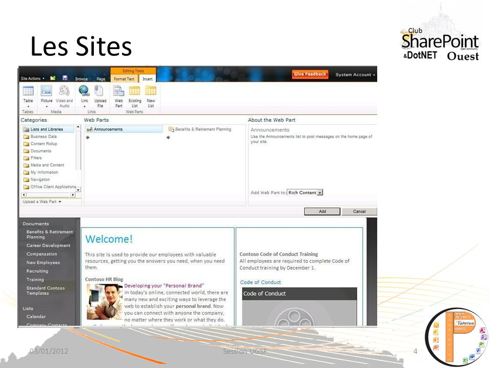 Les Sites 03/01/2012Session UGSF4