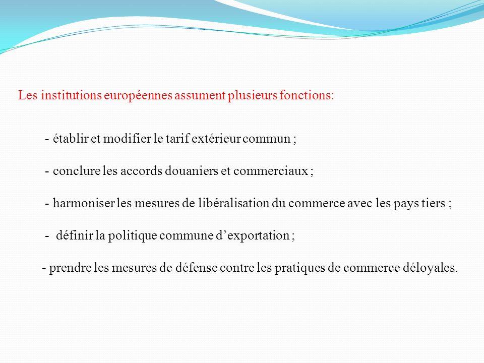 Les institutions européennes assument plusieurs fonctions: - établir et modifier le tarif extérieur commun ; - conclure les accords douaniers et comme