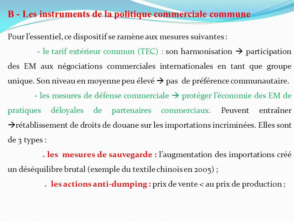 B - Les instruments de la politique commerciale commune Pour lessentiel, ce dispositif se ramène aux mesures suivantes : - le tarif extérieur commun (
