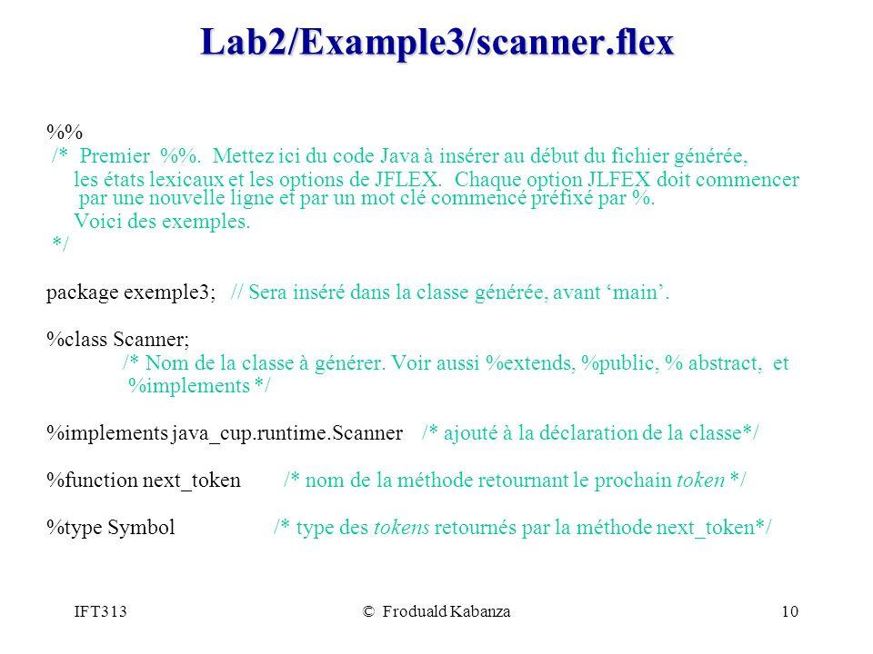 IFT313© Froduald Kabanza10Lab2/Example3/scanner.flex % /* Premier %. Mettez ici du code Java à insérer au début du fichier générée, les états lexicaux