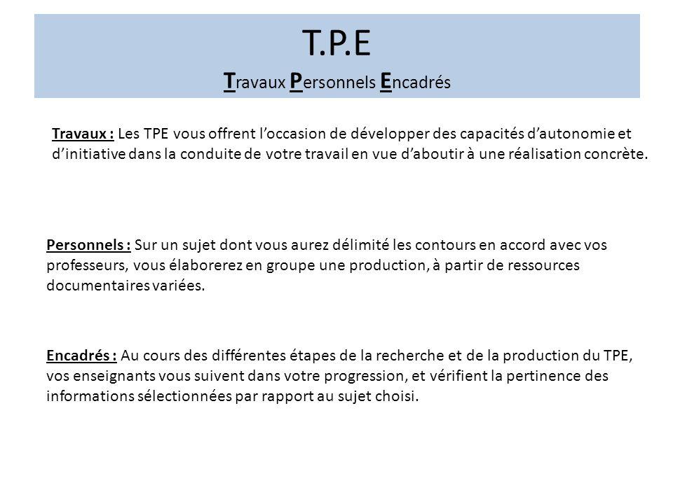 T.P.E T ravaux P ersonnels E ncadrés À partir de thèmes définis, vous choisirez, en concertation avec les enseignants vous encadrant, le sujet sur lequel portera la production.