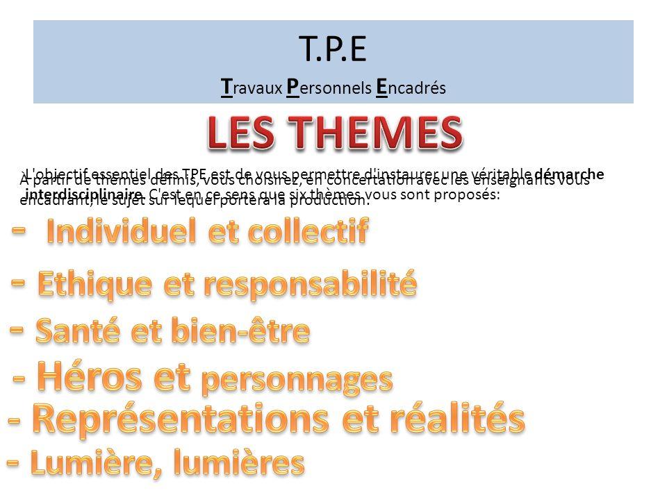 T.P.E T ravaux P ersonnels E ncadrés Il est collectif, sur la base de 10 minutes par élève.