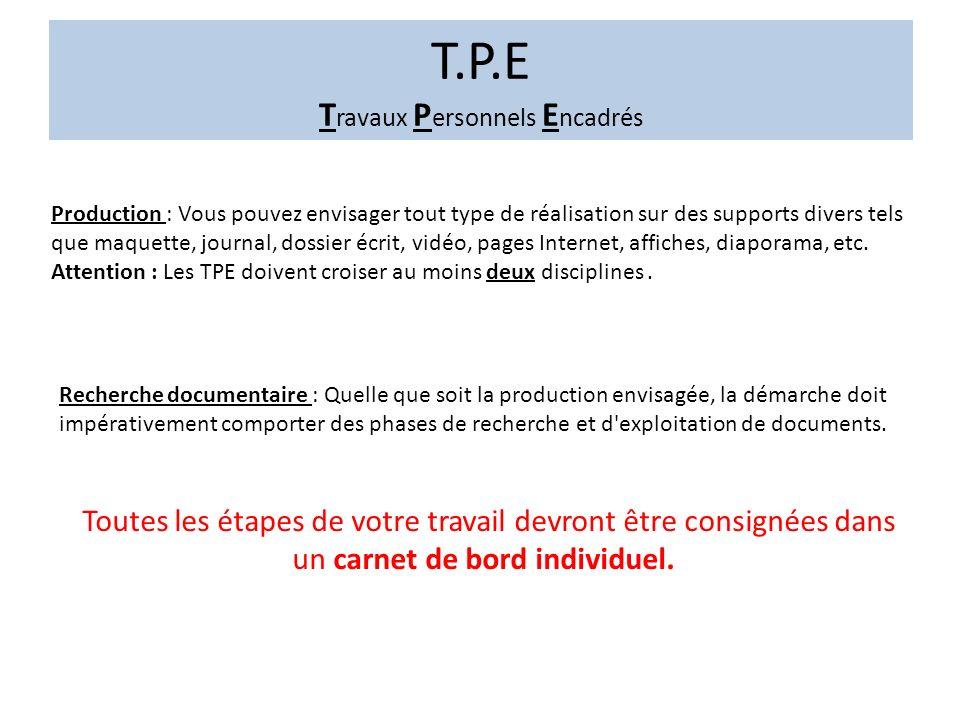 T.P.E T ravaux P ersonnels E ncadrés Des fiches pédagogiques sont à votre disposition sur le site internet éduscol.