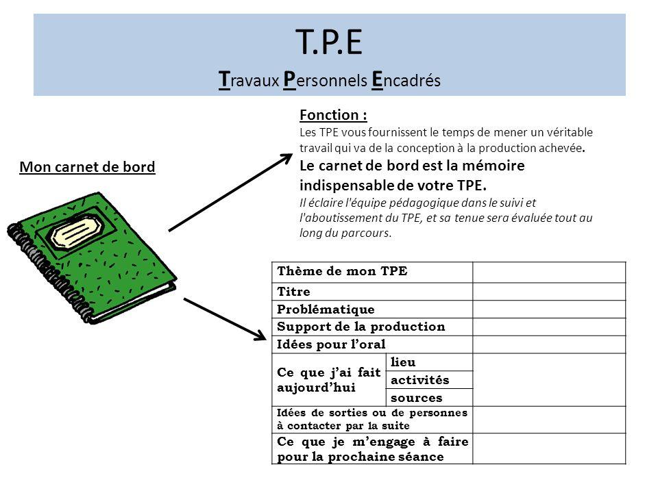 Mon carnet de bord Fonction : Les TPE vous fournissent le temps de mener un véritable travail qui va de la conception à la production achevée.