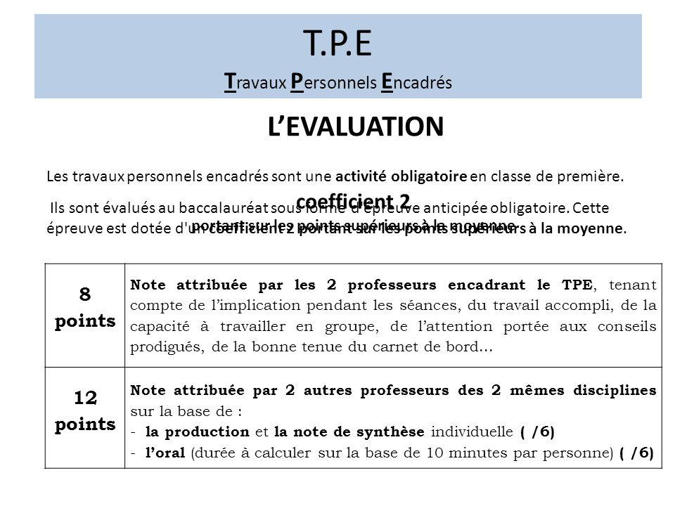 T.P.E T ravaux P ersonnels E ncadrés LEVALUATION Les travaux personnels encadrés sont une activité obligatoire en classe de première.