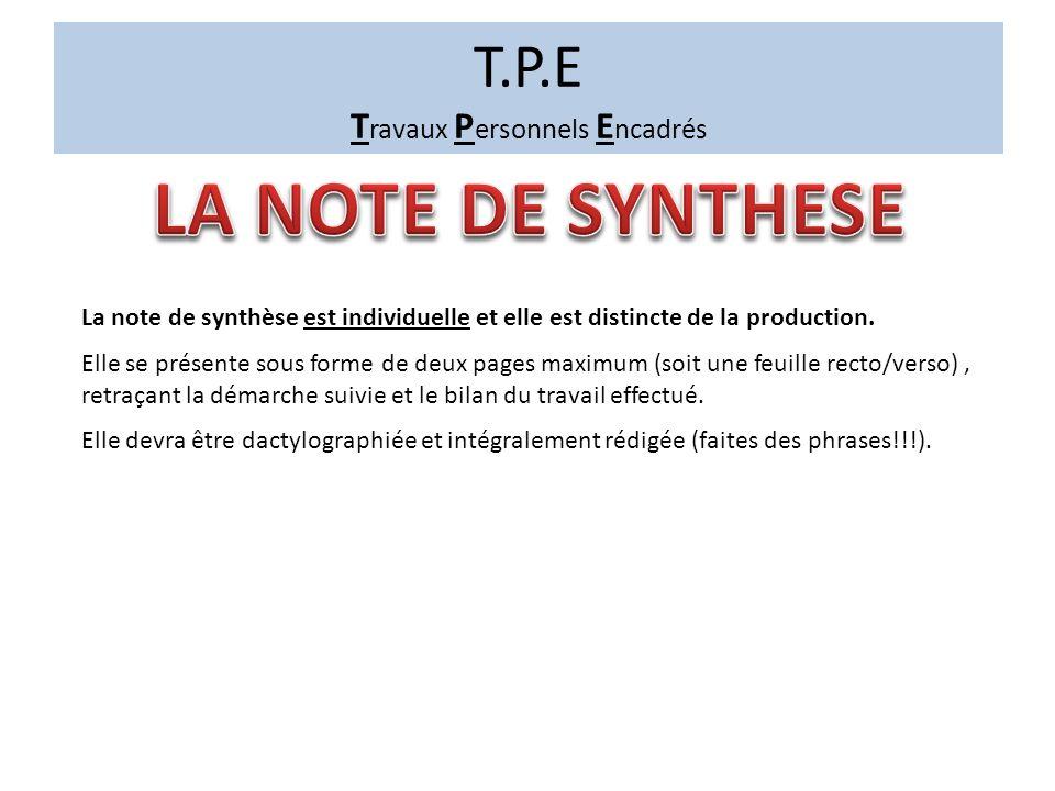 T.P.E T ravaux P ersonnels E ncadrés La note de synthèse est individuelle et elle est distincte de la production.