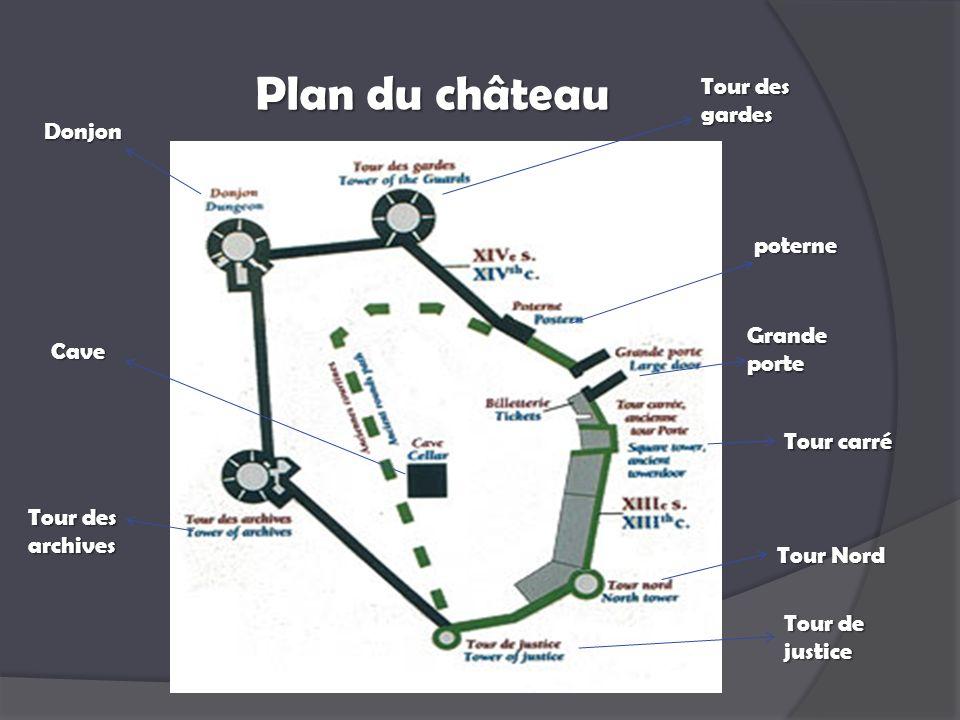 Plan du château Donjon Tour des archives Cave Tour des gardes Tour de justice Grande porte Tour carré Tour Nord poterne