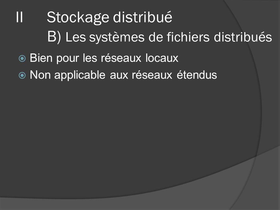 Bien pour les réseaux locaux Non applicable aux réseaux étendus IIStockage distribué B) Les systèmes de fichiers distribués