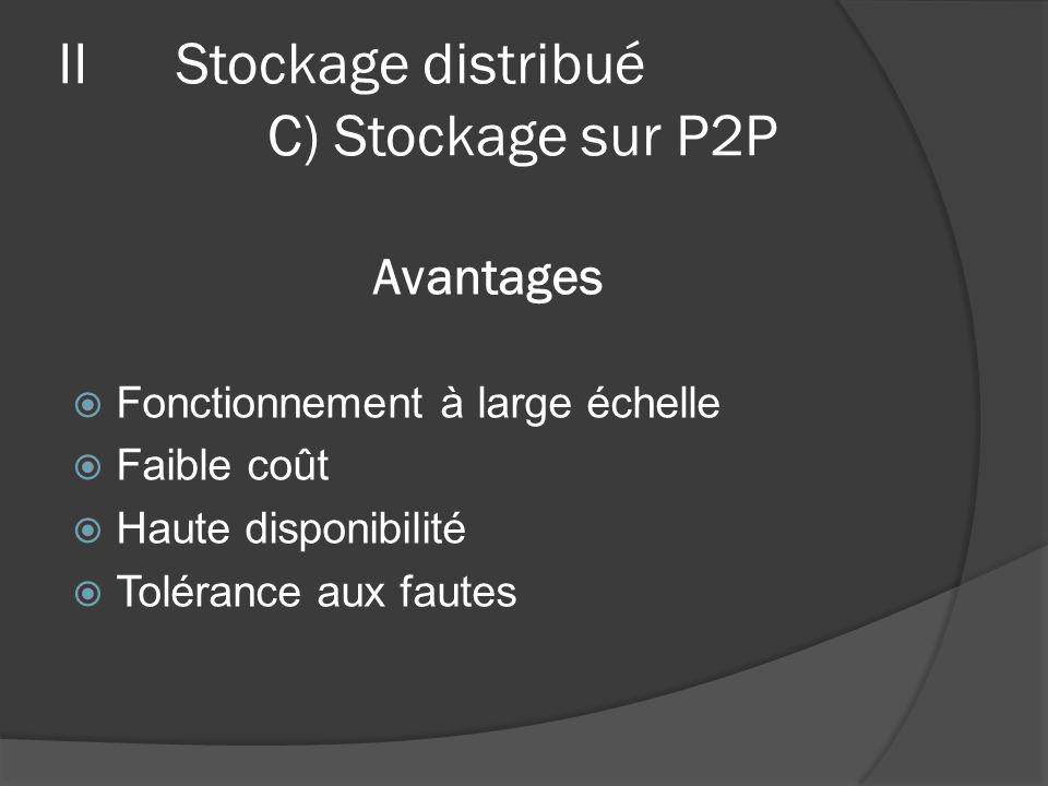 Avantages Fonctionnement à large échelle Faible coût Haute disponibilité Tolérance aux fautes IIStockage distribué C) Stockage sur P2P