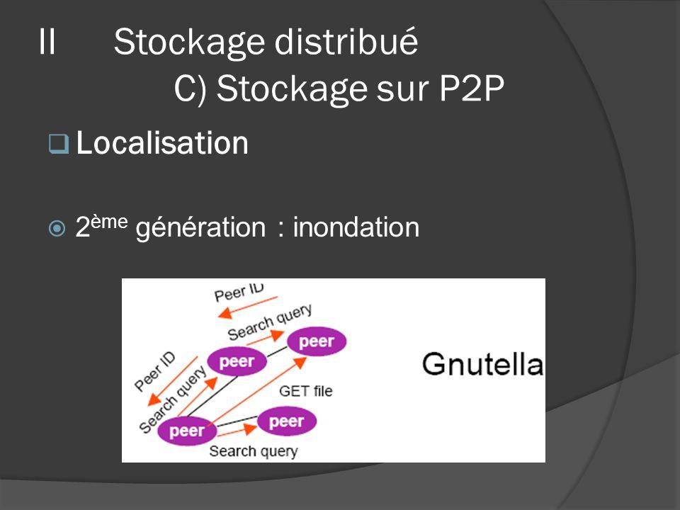 Localisation 2 ème génération : inondation IIStockage distribué C) Stockage sur P2P