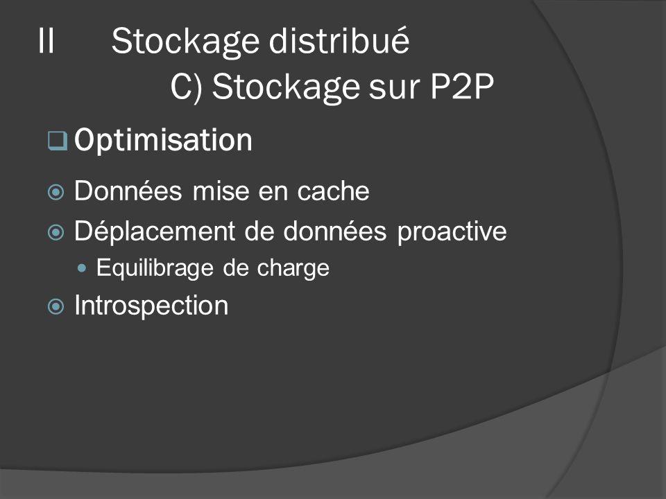 Données mise en cache Déplacement de données proactive Equilibrage de charge Introspection Optimisation IIStockage distribué C) Stockage sur P2P