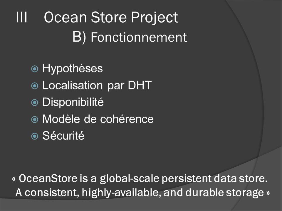 IIIOcean Store Project B) Fonctionnement Hypothèses Localisation par DHT Disponibilité Modèle de cohérence Sécurité « OceanStore is a global-scale per