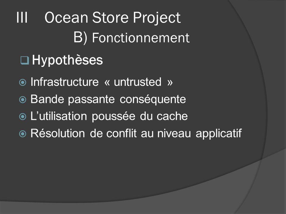 Infrastructure « untrusted » Bande passante conséquente Lutilisation poussée du cache Résolution de conflit au niveau applicatif IIIOcean Store Projec