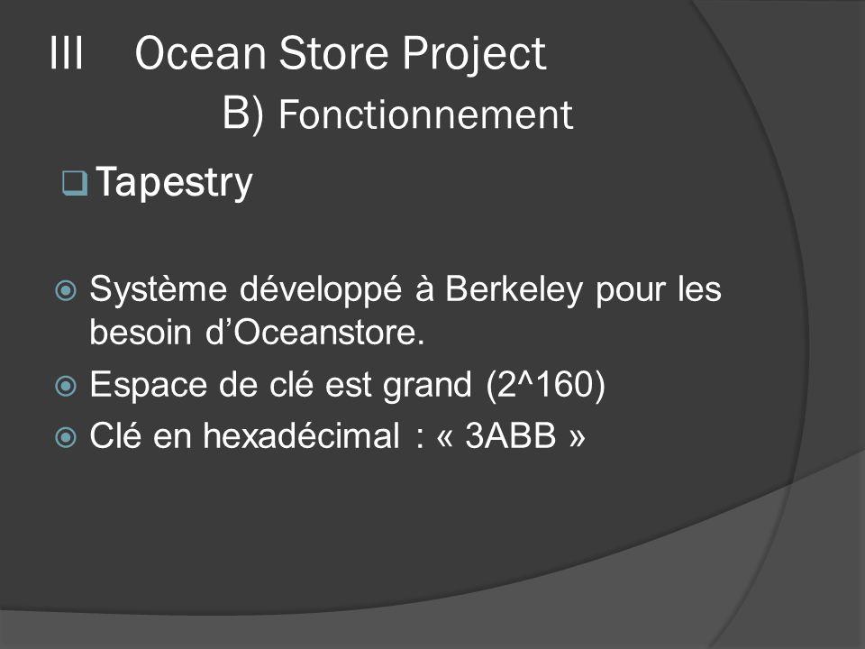 Système développé à Berkeley pour les besoin dOceanstore. Espace de clé est grand (2^160) Clé en hexadécimal : « 3ABB » IIIOcean Store Project B) Fonc