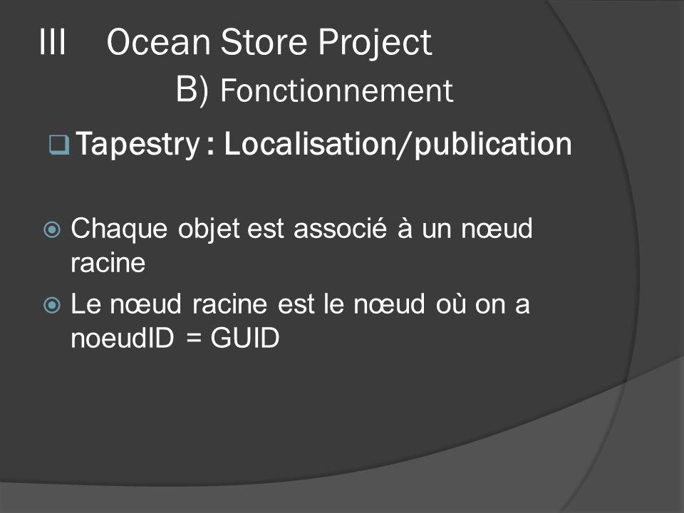 Chaque objet est associé à un nœud racine Le nœud racine est le nœud où on a noeudID = GUID IIIOcean Store Project B) Fonctionnement Tapestry : Locali