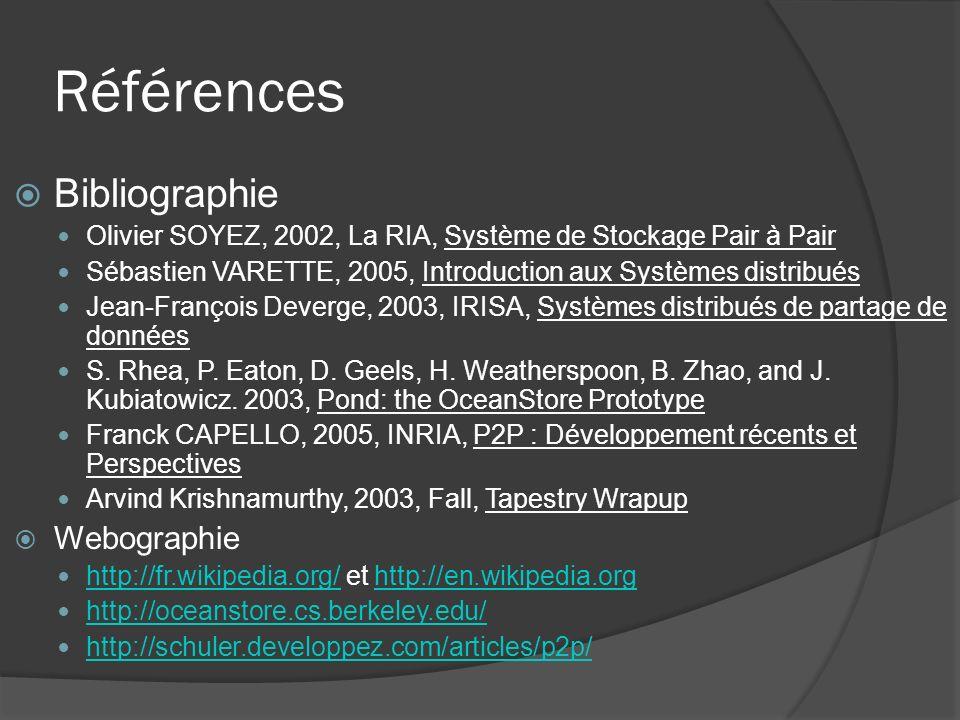 Références Bibliographie Olivier SOYEZ, 2002, La RIA, Système de Stockage Pair à Pair Sébastien VARETTE, 2005, Introduction aux Systèmes distribués Je