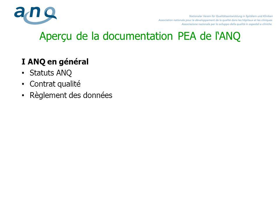 Aperçu de la documentation PEA de lANQ I ANQ en général Statuts ANQ Contrat qualité Règlement des données