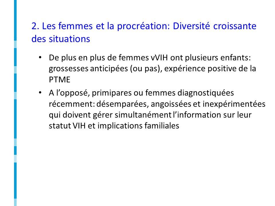 2. Les femmes et la procréation: Diversité croissante des situations De plus en plus de femmes vVIH ont plusieurs enfants: grossesses anticipées (ou p