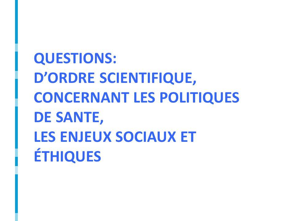 QUESTIONS: DORDRE SCIENTIFIQUE, CONCERNANT LES POLITIQUES DE SANTE, LES ENJEUX SOCIAUX ET ÉTHIQUES