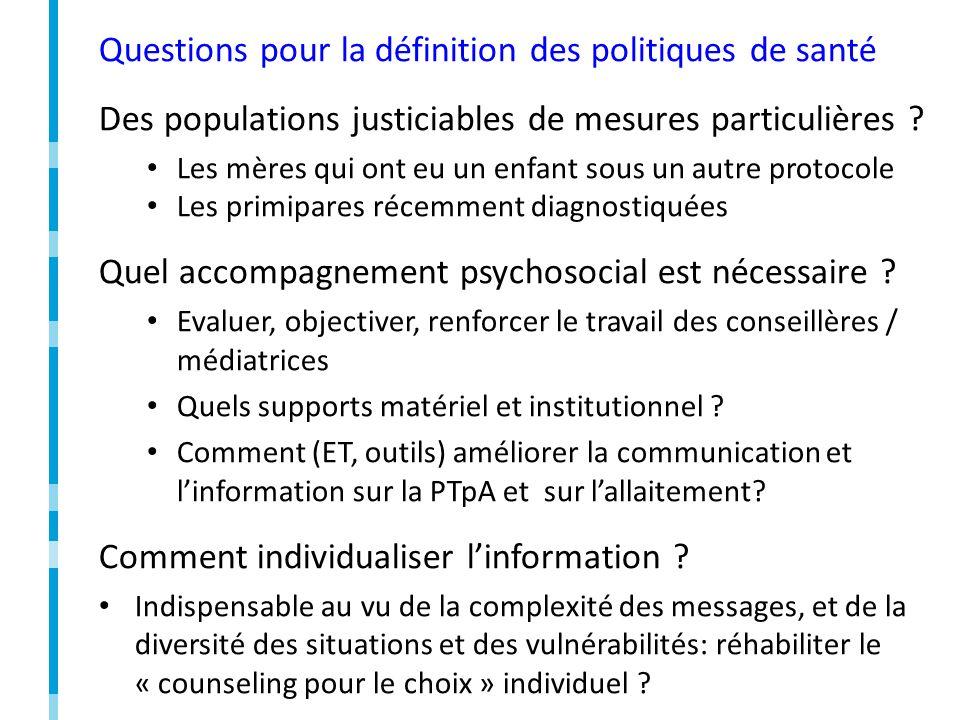 Questions pour la définition des politiques de santé Des populations justiciables de mesures particulières .