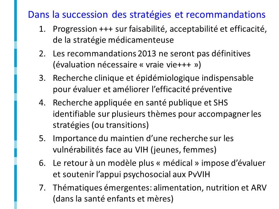 Dans la succession des stratégies et recommandations 1.Progression +++ sur faisabilité, acceptabilité et efficacité, de la stratégie médicamenteuse 2.Les recommandations 2013 ne seront pas définitives (évaluation nécessaire « vraie vie+++ ») 3.Recherche clinique et épidémiologique indispensable pour évaluer et améliorer lefficacité préventive 4.Recherche appliquée en santé publique et SHS identifiable sur plusieurs thèmes pour accompagner les stratégies (ou transitions) 5.Importance du maintien dune recherche sur les vulnérabilités face au VIH (jeunes, femmes) 6.Le retour à un modèle plus « médical » impose dévaluer et soutenir lappui psychosocial aux PvVIH 7.Thématiques émergentes: alimentation, nutrition et ARV (dans la santé enfants et mères)