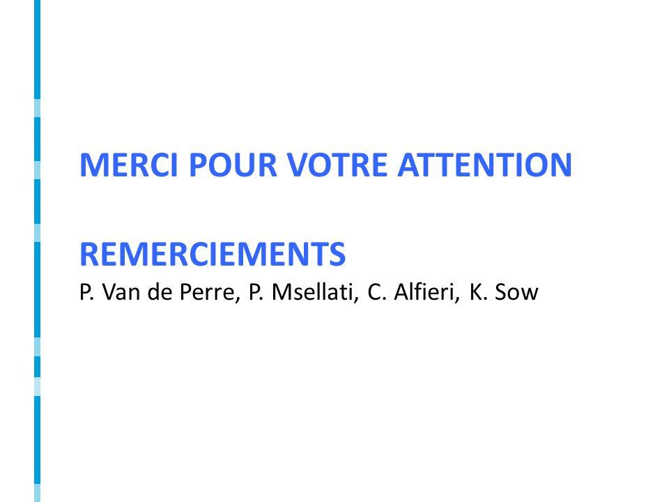 MERCI POUR VOTRE ATTENTION REMERCIEMENTS P. Van de Perre, P. Msellati, C. Alfieri, K. Sow