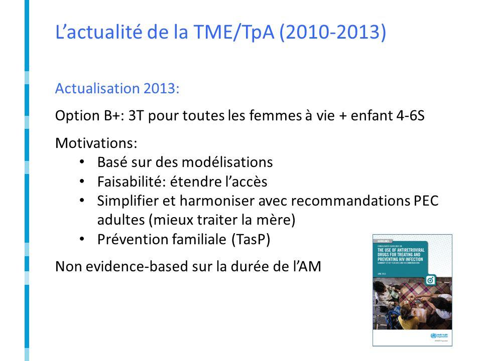 Lactualité de la TME/TpA (2010-2013) Actualisation 2013: Option B+: 3T pour toutes les femmes à vie + enfant 4-6S Motivations: Basé sur des modélisations Faisabilité: étendre laccès Simplifier et harmoniser avec recommandations PEC adultes (mieux traiter la mère) Prévention familiale (TasP) Non evidence-based sur la durée de lAM