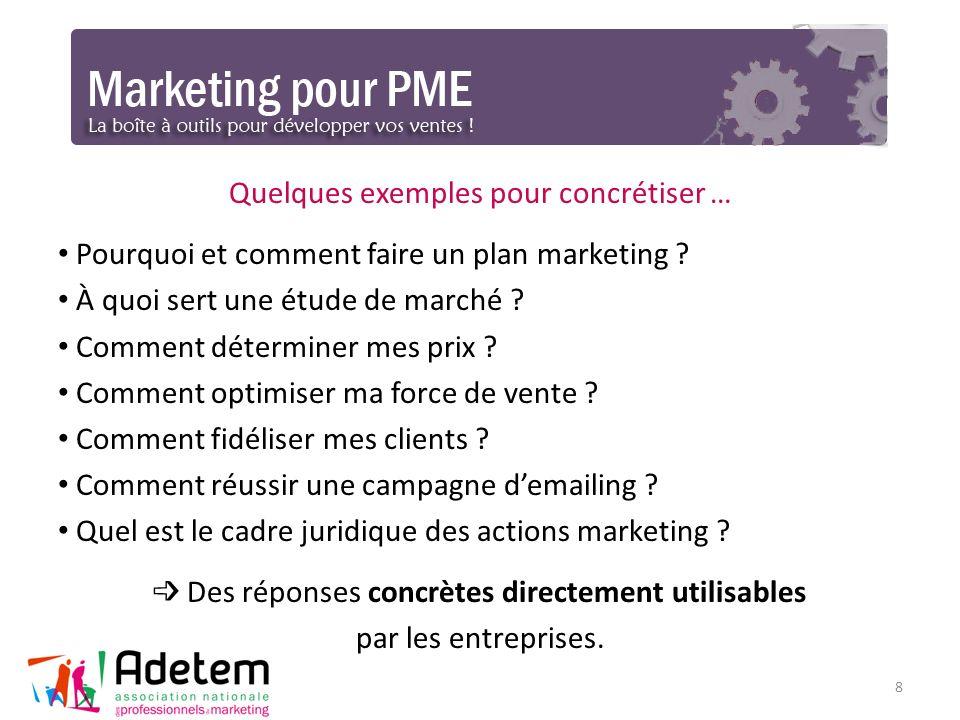 8 Quelques exemples pour concrétiser … Pourquoi et comment faire un plan marketing ? À quoi sert une étude de marché ? Comment déterminer mes prix ? C