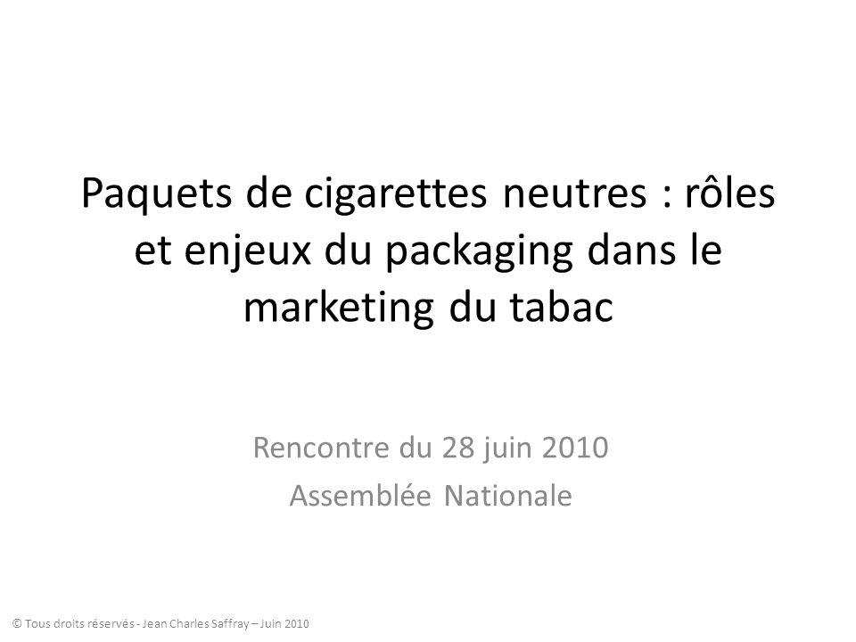 Paquets de cigarettes neutres : rôles et enjeux du packaging dans le marketing du tabac Rencontre du 28 juin 2010 Assemblée Nationale © Tous droits ré