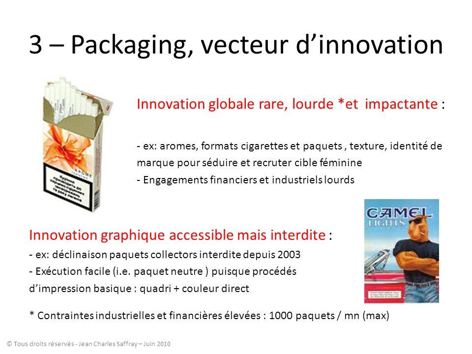 3 – Packaging, vecteur dinnovation Innovation globale rare, lourde *et impactante : - ex: aromes, formats cigarettes et paquets, texture, identité de