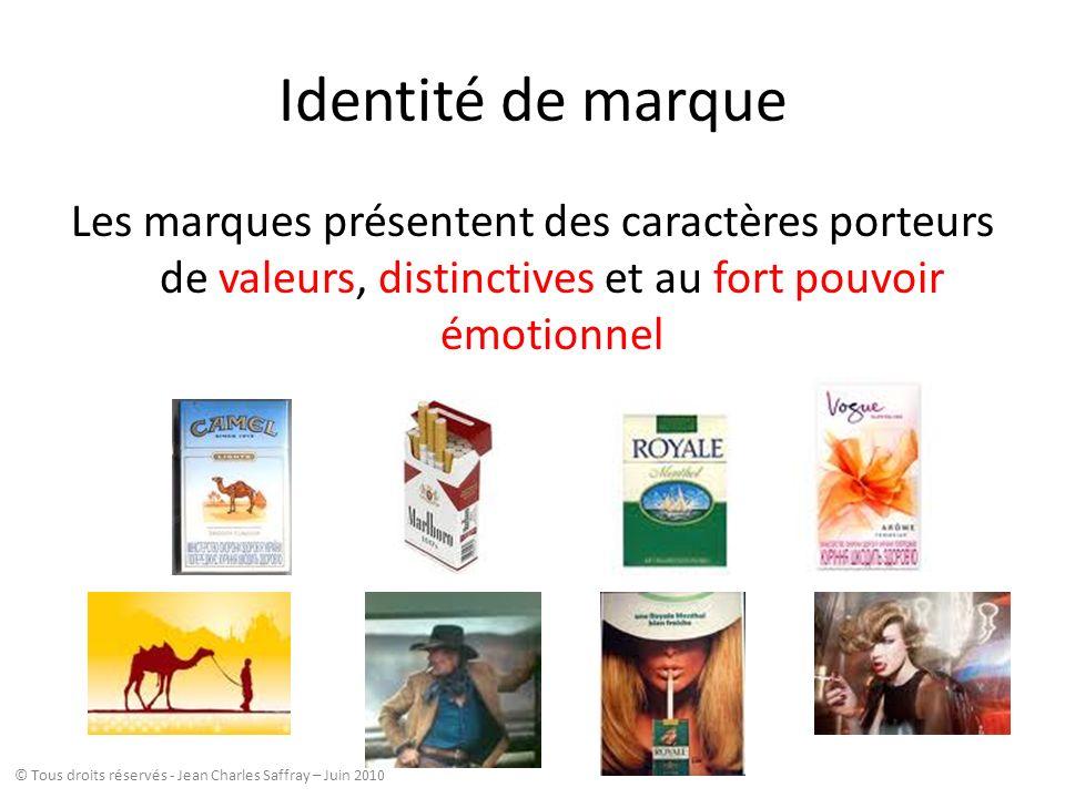 Identité de marque Les marques présentent des caractères porteurs de valeurs, distinctives et au fort pouvoir émotionnel © Tous droits réservés - Jean