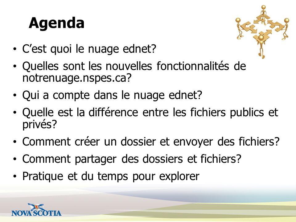 Agenda Cest quoi le nuage ednet. Quelles sont les nouvelles fonctionnalités de notrenuage.nspes.ca.