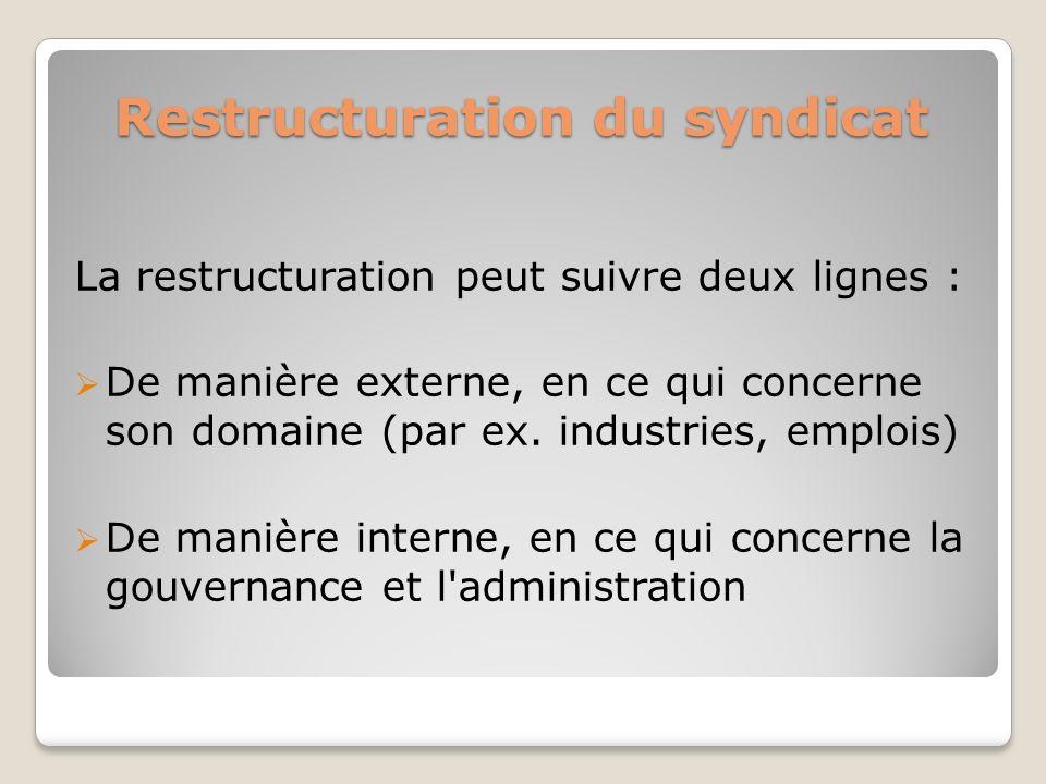 Restructuration du syndicat La restructuration peut suivre deux lignes : De manière externe, en ce qui concerne son domaine (par ex. industries, emplo