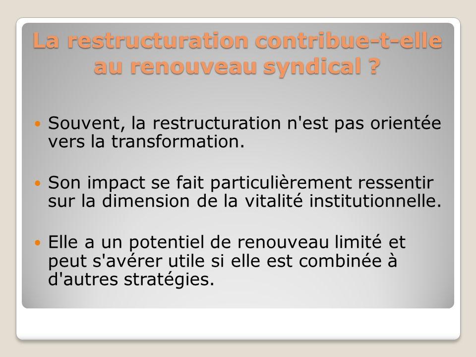 La restructuration contribue-t-elle au renouveau syndical ? Souvent, la restructuration n'est pas orientée vers la transformation. Son impact se fait