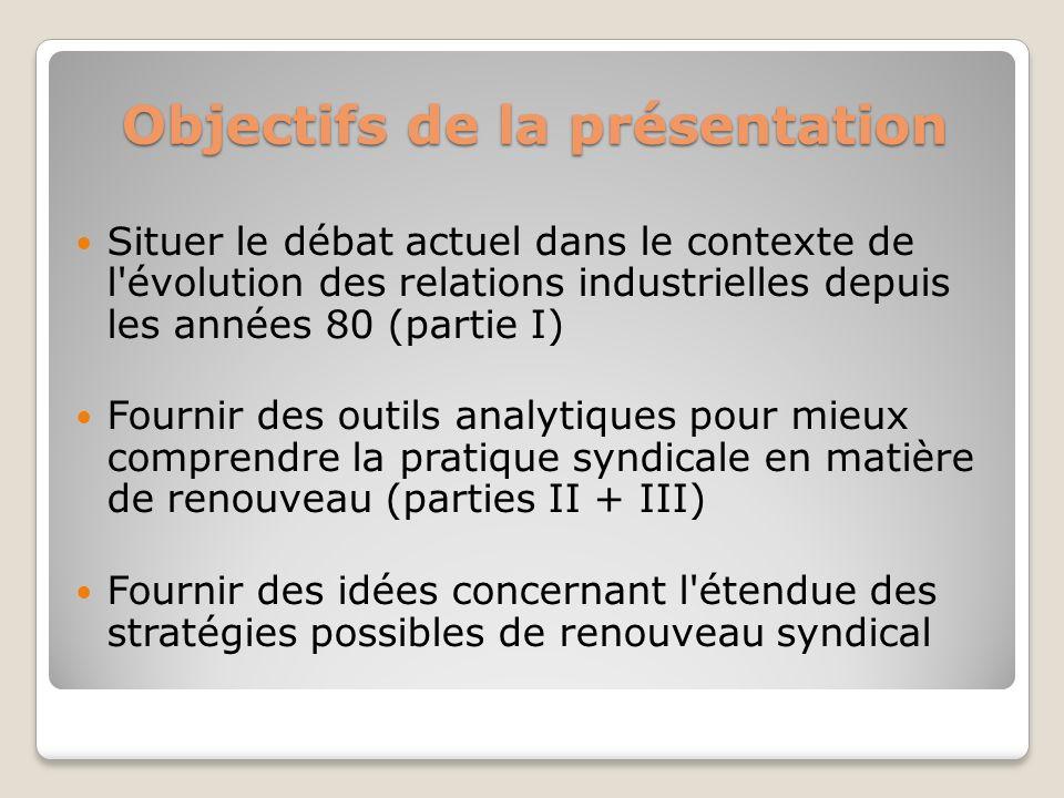 Objectifs de la présentation Situer le débat actuel dans le contexte de l'évolution des relations industrielles depuis les années 80 (partie I) Fourni