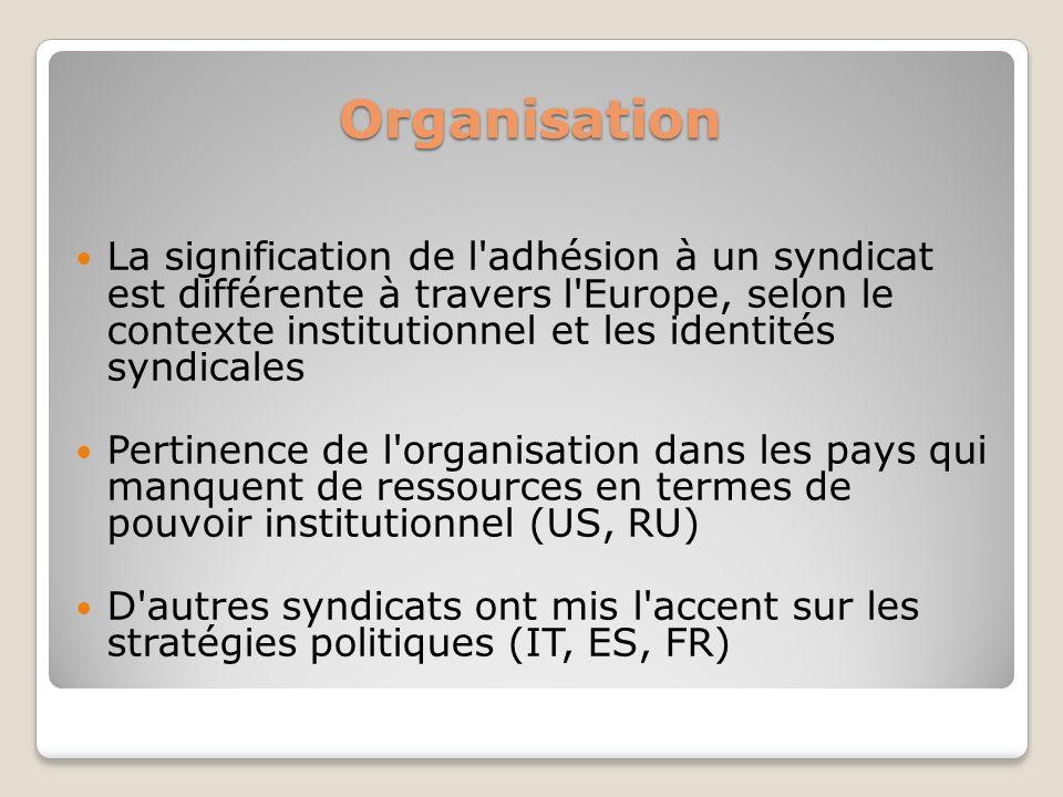 Organisation La signification de l'adhésion à un syndicat est différente à travers l'Europe, selon le contexte institutionnel et les identités syndica