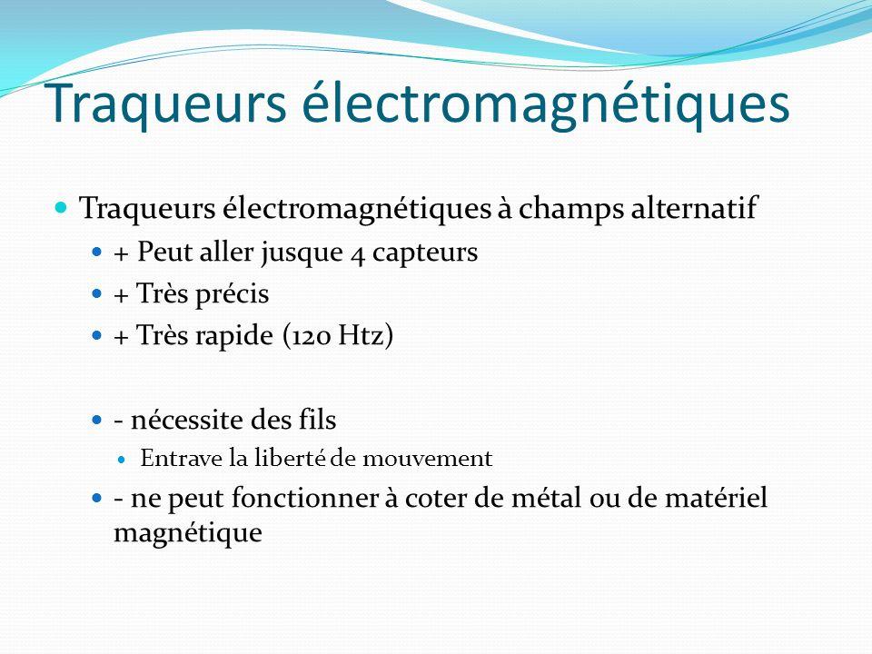 Traqueurs électromagnétiques à champs alternatif + Peut aller jusque 4 capteurs + Très précis + Très rapide (120 Htz) - nécessite des fils Entrave la