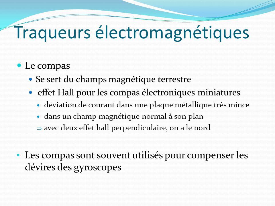 Traqueurs électromagnétiques Le compas Se sert du champs magnétique terrestre effet Hall pour les compas électroniques miniatures déviation de courant