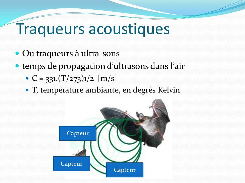 Traqueurs acoustiques Ou traqueurs à ultra-sons temps de propagation dultrasons dans lair C = 331.(T/273)1/2 [m/s] T, température ambiante, en degrés