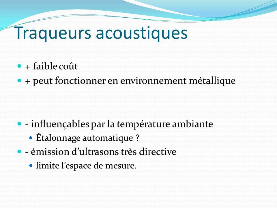 Traqueurs acoustiques + faible coût + peut fonctionner en environnement métallique - inuençables par la température ambiante Étalonnage automatique ?
